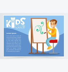 Kids club poster with boy character sitting on a vector