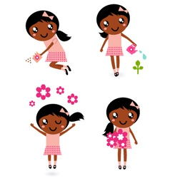 little cute gardener girl vector image