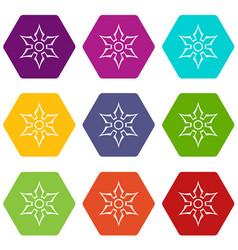ninja shuriken star weapon icon set color vector image