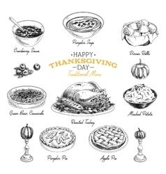 hand drawn Thanksgiving food set vector image