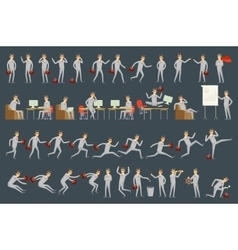Large set of businessman character poses vector image vector image
