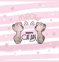 cat day card with two mewing vector image