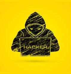 Hacker working on laptop vector