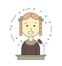 avatar girl on tribune for speech vector image