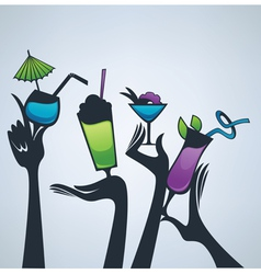 happy hours drinks vector image vector image