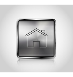 Metallic web icon with reflection and shadows vector image vector image