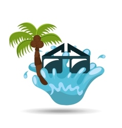 sunglasses water splash palm summer vacation vector image vector image