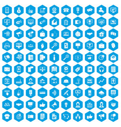 100 help desk icons set blue vector image