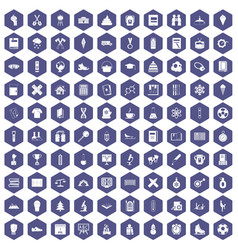 100 school years icons hexagon purple vector