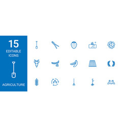 15 agriculture icons vector
