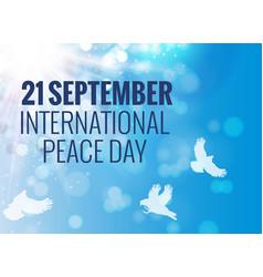 21 september international peace background vector image