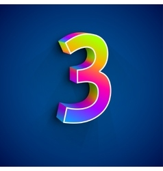 3d Number Three vector