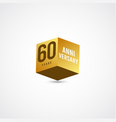 60 years anniversary celebration gold 3 d label vector