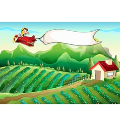 A pilot with an empty banner flying above the farm vector