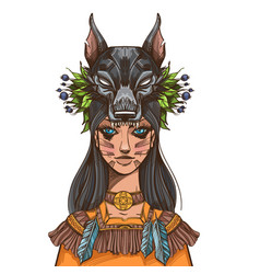 A woman with a mask of a wolf beautiful girl in a vector