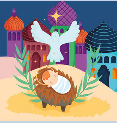 Bajesus crib and pigeon star nativity merry vector
