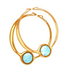 Beautiful dangling hoop yellow gold earrings vector