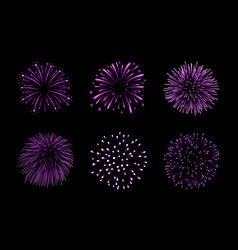 beautiful purple fireworks set bright fireworks vector image