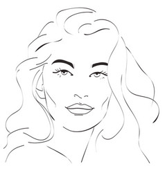 beautiful woman face hand draw vector image