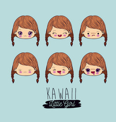 Blue background set facial expression kawaii vector