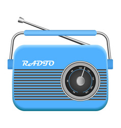 Blue old radio mockup realistic style vector