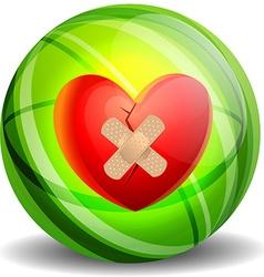 Broken heart with plaster vector
