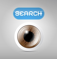 Brown Eye and Search Button on Grey Background vector image