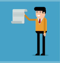 businessman showing document vector image