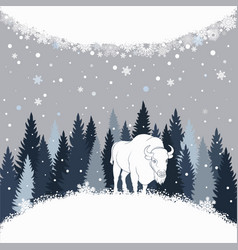 card with bison on the forest background and snow vector image