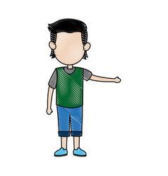 Cartoon boy kid hand gesture image vector