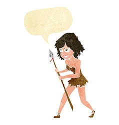 cartoon cave girl with speech bubble vector image