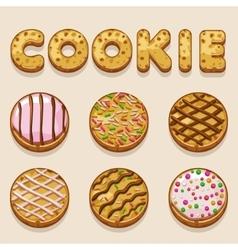 Cartoon cookie biskvit food letters vector