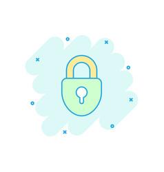 cartoon lock icon in comic style padlock locker vector image