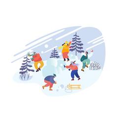 Christmas holidays activity snowballs battle vector
