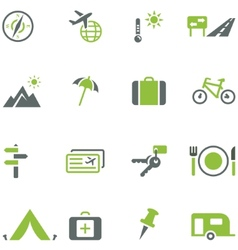 Collection of icons for travel tourism and active vector image