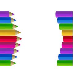 Colour pencils border on white background vector