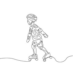 Continuous one line drawing kid in protect clothes vector