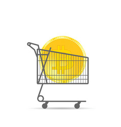 cryptocurrency coin gold in shopping basket vector image