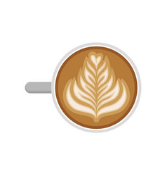 Cup of cappuccino with rosetta latte art top view vector