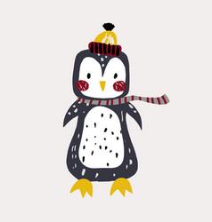 Cute bunny pinguin in winter hat childish print vector