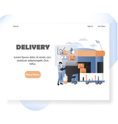 Delivery website landing page design vector