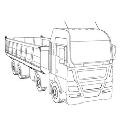 dump truck sketch isolated on white background vector image