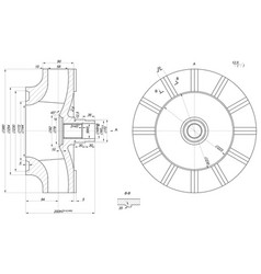 expanded wheel sketch with span vector image