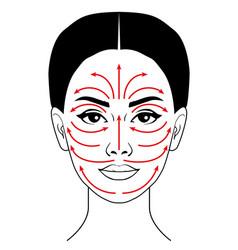 Facial massage line vector