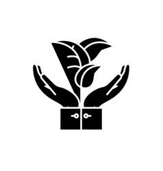 flora support black icon sign on isolated vector image
