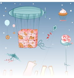 Flying Sweets and Children vector