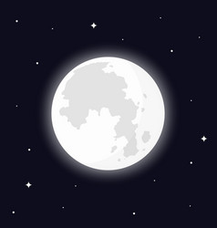Full moon surrounded by stars vector