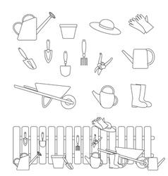 gardening tools symbols vector image