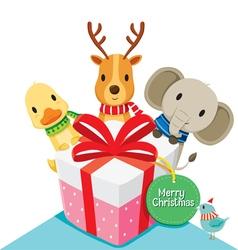 Gift box and Deer Elephant Duck Bird vector image