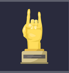 Gold rock star trophy music hand note best vector